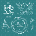 Set of graphic christmas tags with wreath deer horns pine tree and hand drawn letters merry holly jolly happy new year Royalty Free Stock Photography