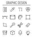 Set of graphic design in modern thin line style.