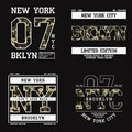 Set of graphic design for t-shirt with camouflage texture. New York tee shirt print with slogan. Brooklyn apparel typography. Royalty Free Stock Photo