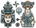 Set of graphic elements based on motives of art Native American Indian. Woman, mother, goddess, queen, esoteric symbol.