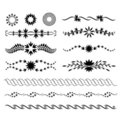 Set of graphical floral design elements Stock Photo