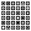 Set of graphical floral icons Royalty Free Stock Photography