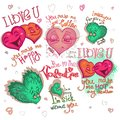 Set of graphics stickers, letterings and character for Happy Valentine day. Happy, sad, color bright cartoon hearts