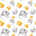 A set of gray rat and a piece of yellow cheese. Symbol of 2020 new year. Watercolor illustration isolated on white background.