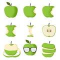 Set of Green apple Royalty Free Stock Photo