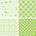 Set of green backgrounds - seamless pattern Royalty Free Stock Photo