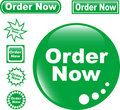 Set green button ORDER NOW glossy Royalty Free Stock Photo