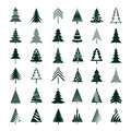 Set of green christmas tree vector illustrations graphic elements Stock Images