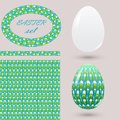 Set with green Easter eggs and design elements zenart style. Bright spring color ornamental brush seamless pattern and frame for d