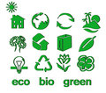 Set of green eco & bio icons, stickers and tags Royalty Free Stock Photo