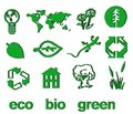 Set of green eco & bio icons, stickers and tags Stock Photo