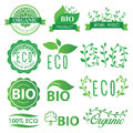 Set green, eco, bio and organic labels Royalty Free Stock Photo