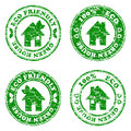 Set of green eco friendly house  stamps Royalty Free Stock Photography