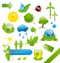 Set of green ecology icons illustration Stock Image