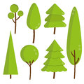 Set of green flat trees and pine vector forest