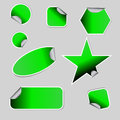 Set green folded stickers isolated white Royalty Free Stock Image