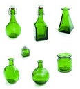 Set of green glass vessel Stock Photo
