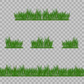 Set Green Grass Borders, Vector Illustration. Abstract field texture. Symbol of summer,plant, eco and natural, growth or fresh. De