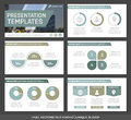 Set of green and gray elements for multipurpose presentation template slides with graphs and charts. Leaflet, corporate