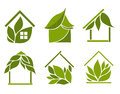 Set of green houses design elements on a white background Royalty Free Stock Photo