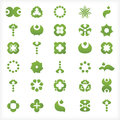 Set of green icons and graphics with various leaf drop shapes symbols abstract shapes Stock Photos