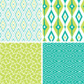 Set of green ikat diamond seamless patterns vector backgrounds with hand drawn elements Royalty Free Stock Photo