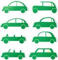 Set green isolated cars with shadow Stock Photo