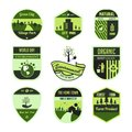 Set of green ,leaf,environment,world day, badge or emblem in isolated vector