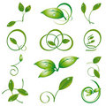 A set of green leaves Royalty Free Stock Images