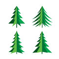 Set of Green Pines Trees. Vector Icon. Royalty Free Stock Photo