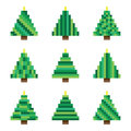 Set green pixel Christmas trees in vector Royalty Free Stock Photo