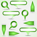 Set of green pointers Royalty Free Stock Image