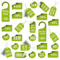 Set of green price tags and labels Royalty Free Stock Photography