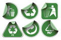 Set of green recycle labels Royalty Free Stock Photos