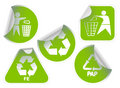 Set of green recycle labels badges and stickers Stock Photo