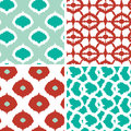 Set of green and red ikat geometric seamless vector patterns backgrounds with hand drawn elements Royalty Free Stock Image