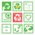 Set Of Green And Red Recycle S...