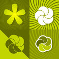 Set a green spring backgrounds with flowers Royalty Free Stock Photo