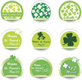 Set of green St. Patrick's Day stickers. Stock Photo