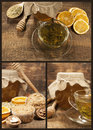 Set with green tea, honey and walnut muffins Stock Images