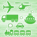 Set green transport icons green background Stock Image