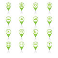 Set of green travel icons vector illustration Royalty Free Stock Photo