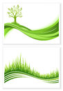 Set of green tree and grass growth vector eco concept. Nature background. Collection abstract illustrations with copyspace. Royalty Free Stock Photo