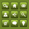 Set of green vector web square buttons Royalty Free Stock Photos