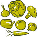 Set of green vegetable Royalty Free Stock Photo
