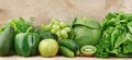 Set of green vegetables and fruits Royalty Free Stock Photo