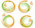 Set of a green waves with orange butter Stock Photos