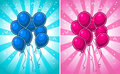 Set of greeting birthday cards with blue and pink party balloons Stock Image