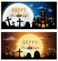 set greeting card haunted house and full moon with ghost,Halloween night background Royalty Free Stock Photo