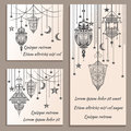 Set of greeting cards ethnic ornament in vintage